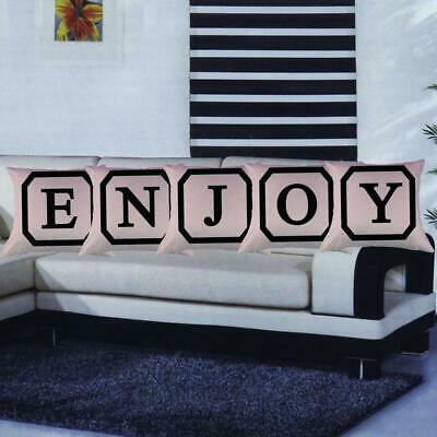 Set of Letter Words ENJOY Square Throw Pillowcases Decorative Cushion Covers-BLK