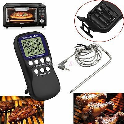 Digital Essenthermometer Fleischthermometer Food Probe Sonde Küchenuhr Timer BBQ