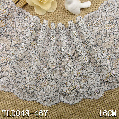 1 Yard White Embroidered Stretch Lace Trim For DIY Craft Lingerie Wide 6 1/2""