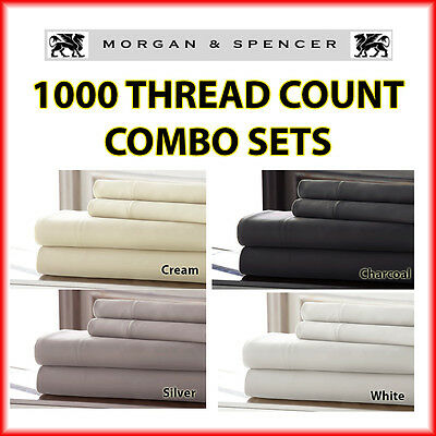 New Morgan And Spencer 1000 Thread Count Combo Set (Fitted Sheet + Pillowcases)