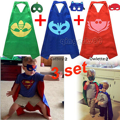 3x Superhero PJ Masks Cape & Mask Costume Kids Girl Boy Set Gekko Owlette Catboy