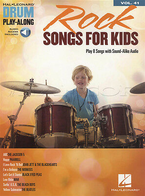 Rock Songs for Kids Drum Play-Along Sheet Music Book with Audio Vol 41 Beatles
