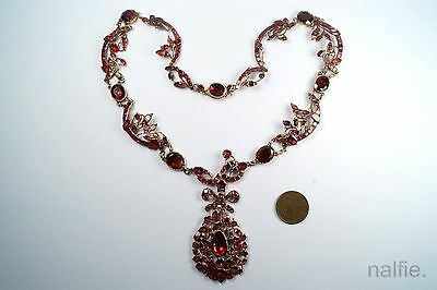 STUNNING ANTIQUE 18th CENTURY 15K GOLD FOILED GARNET NECKLACE w/ BOX c1770