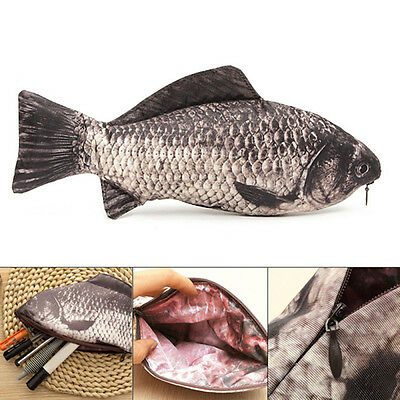 Pencil Case Cosmetic Bag Carp Real Fish-Like Zipper Pen & Make-Up Pouch Funny