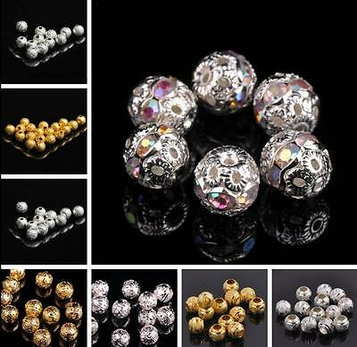 Wholesale 4/5/6/8/10/12mm Round Metal Ball Spacer Beads Jewelry Making Findings