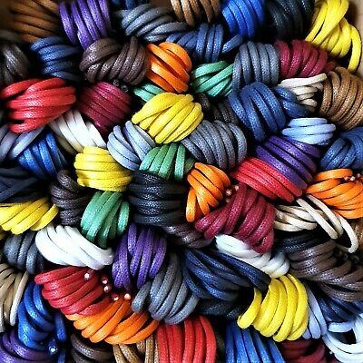 Thin Waxed Cotton Shoe Laces - 2 mm - 17 colours - 45, 60, 75, 90, 120 cm