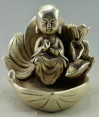 Collectible Decorated Old Handwork Silver Plate Copper Monk Prayer Lotus Ashtray