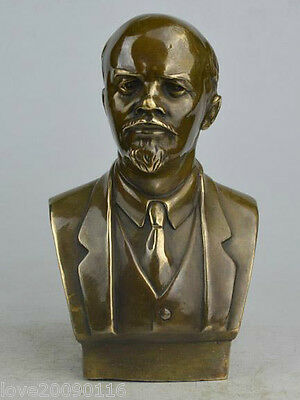 Collectible Decorated Old Handwork Copper Carved Lenin Statue     Great Man