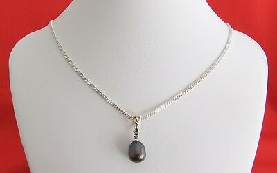 925 Sterling Silver Curb Link Necklace with Black Freshwater Pearl Pendant