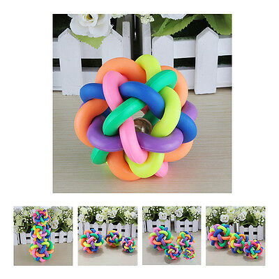 Pet Dog Puppy Cat Rainbow Color Rubber Bell Ball Toy Sound Round Ball FK