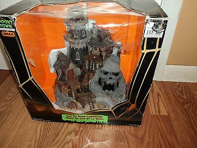 Halloween Lemax Spooky Town Isle Of Doom Lighthouse Animated  Sound 2004