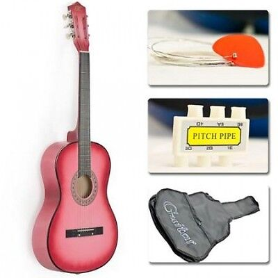Acoustic Guitars for Girls Pink Case Strap Tuner Pick Junior Size Beginner Kit