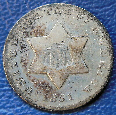 1851 Three Cent Piece Very Good VG US Type Coin 3cs Silver T52