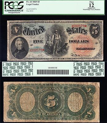 "*RARE* 1869 $5 ""RAINBOW"" Woodchopper US Note!! PCGS 12/a! FREE SHIP! K282576*"