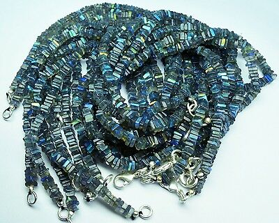 """Super Blue Fire Labradorite 4Mm Square Heishi Beads 76Ct 16"""" Finished Necklace"""
