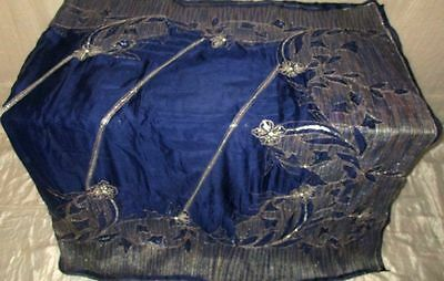 Navy Blue Antique Sari Saree Embroidered Heavy Engagement all season Good #DD07L