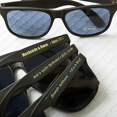 50 Personalized Cool Black Metallic Sunglasses Wedding Shower Party Favors