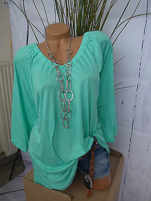 Sheego Long Tunika Bluse Shirt Gr. 44/46 - 52/54 Mint (976) weich fallend NEU