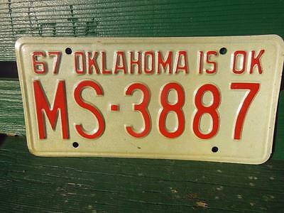 1967 Oklahoma Is Ok License Plate Truck Rodsters  Man Cave Auto  Decor Car Shop