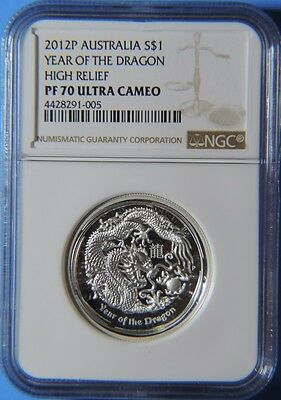 2012 P Australia Year of the Dragon High Relief $1 Silver .999 1oz Coin NGC PF70