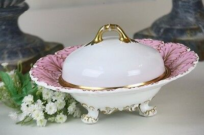 Copeland and Garrett Footed Bowl Pink Gold Leaf Shape Rim Antique Cheese Server