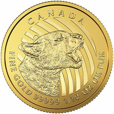 Lot of 5 - 2016 Canadian 1/10oz Gold Growling Cougar .99999 in Assay