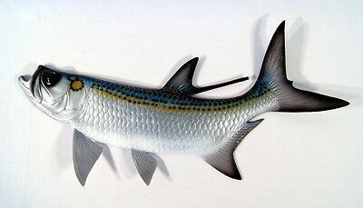 "Hand Painted Jumbo 48"" Tarpon Wall Mount Decor Sculpture Plaque 85T"