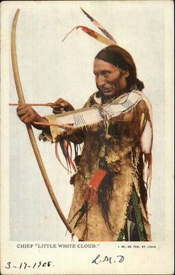 Native American Indian Drawing Bow & Arrow Chief Little White Cloud Postcard