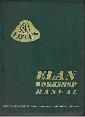 Lotus Elan S1 S2 S3 S4 Convertible (1962-1974) Original Factory Repair Manual