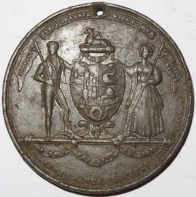 TEMPERANCE SOCIETY MEDAL INSTITUTED 1833 white metal 46mm holed for suspension