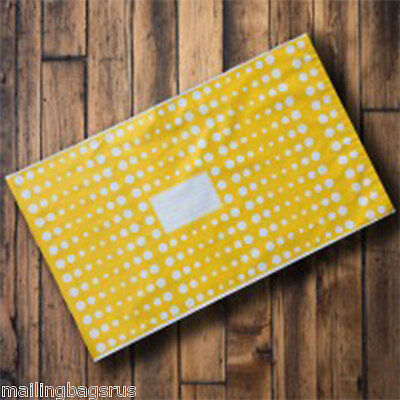 """1000 Yellow Polka Dots 10"""" x 14"""" Mailing Postage Postal Mail Bags"""