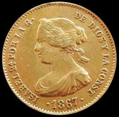 1867 Gold Spain 4 Escudos Isabel Ii Coinage Madrid Mint Please Read*