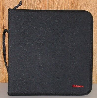 Fellowes CD DVD Storage Zip Close Binder w/ Filler Pages Holds 128+