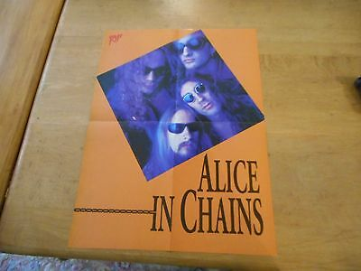 Vintage Double Sided RIP Poster ALICE IN CHAINS & KISS No Makeup 21x16 #22