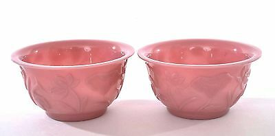 2 Early 20C Chinese Export Pink Lavender Peking Glass Carved Relief Bowl Mk