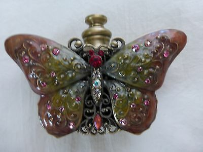 Perfume Essential Oil Enamel Brass Bottle Vial Crystals Butterfly