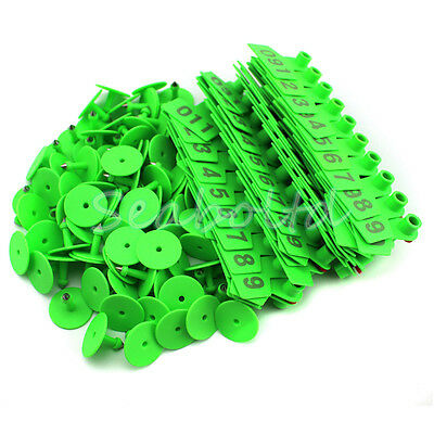 Green 1-100 Number Plastic Livestock Ear Tag Animal Tag for Goat Sheep Pig
