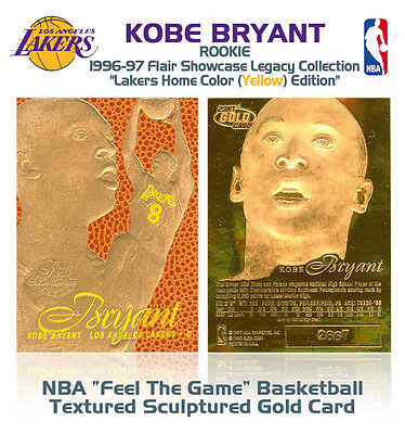1996 KOBE BRYANT Feel The Game FLAIR 23K GOLD RC Home Court Yellow Jerssy Card