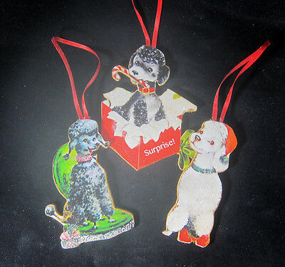 Poodle Ornament Christmas Collection White Toy Black Puppy Dog Groomer Gift