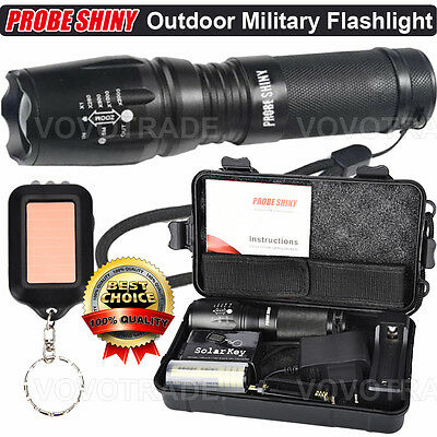 EU X800 Zoomable XML T6 LED Tactical Flashlight 18650 Battery Charger Case lot
