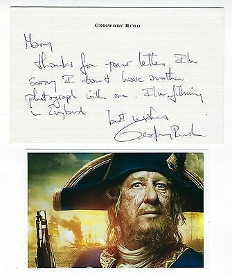 """Geoffrey Rush Autographed Letter With """"Pirates...."""" HP Photo Academy Award"""