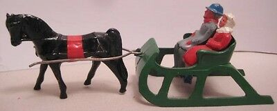 Old Lead Christmas Couple in Horse Drawn Sleigh for Skater / Skier Village Set