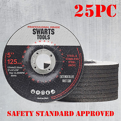 "25 x 5"" 125MM GRINDING DISC WHEEL 6MM  ANGLE GRINDER CUT OFF METAL STEEL FLAP"