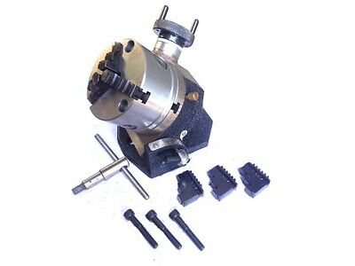 """Rotary Table 4"""" Tilting + 100 Mm Self Centering Chuck + Backplate"""