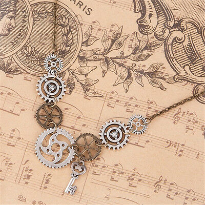 Vintage Steampunk Antique Bronze Gear Key Pendants Statement Chain Necklace Gift