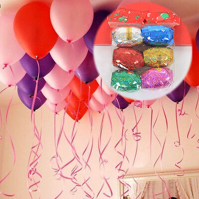 6pcs 10m Latex Foil Curling Balloon Colour Ribbon Helium Wedding Birthday Party