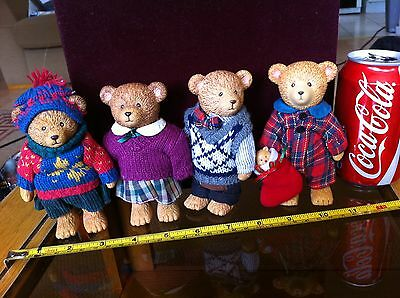 Russ Plastic Classic Bear Doll Family Clothed Good Quality Toys Bundle x4