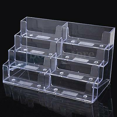 8 Pocket Desktop Clear Acrylic Business Card Holder Countertop Display Stand US