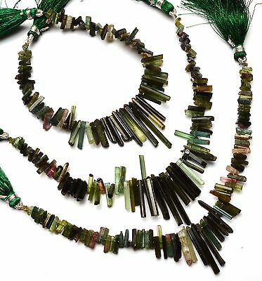 Natural Gem Super Quality Multi Color Tourmaline Sticks Pencil Shape Beads 7""