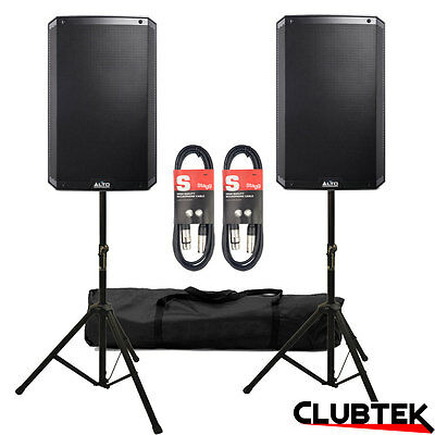 """2 x Alto TS215 15"""" Active Powered Speakers 1100W PA + FREE Stands Bag Leads UK"""